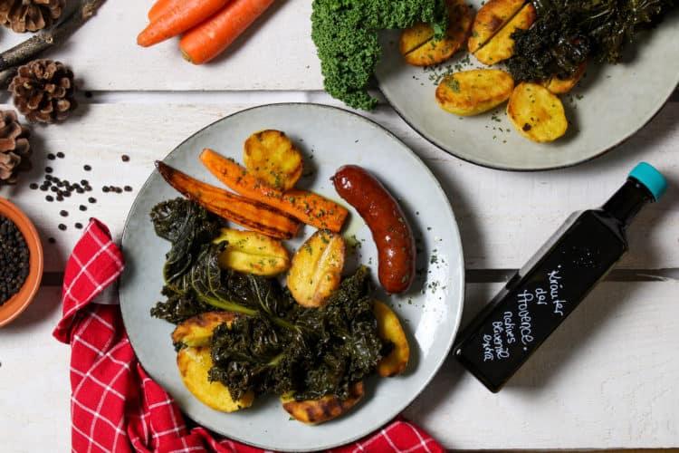 Grünkohl mit Olivenöl Kräuter der Provence