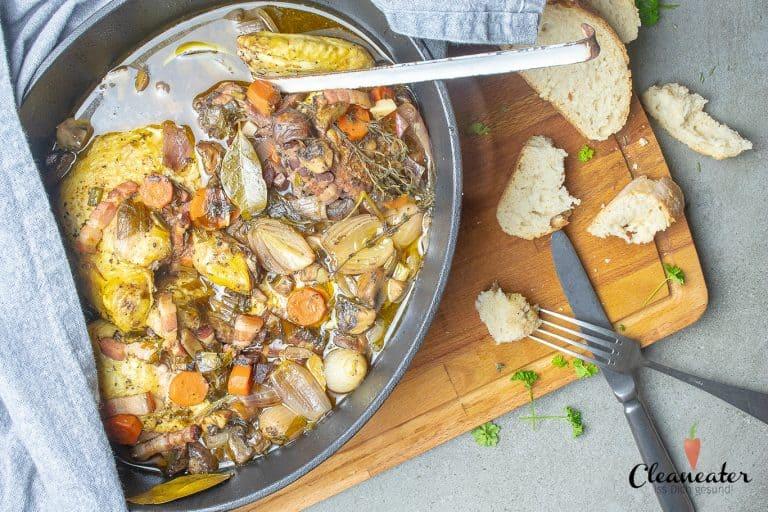 Coq au vin mit Trueffel-Kartoffelpueree
